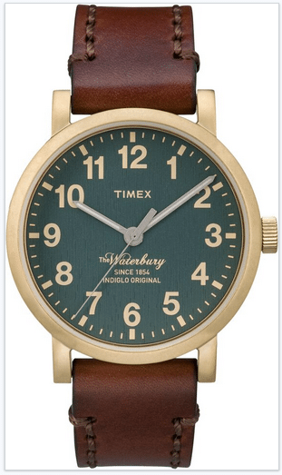 Time Waterbury watch with brown strap