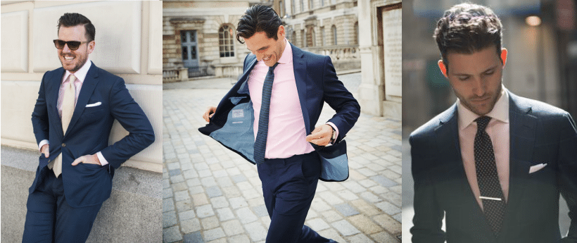 pink colour with a navy blue suit