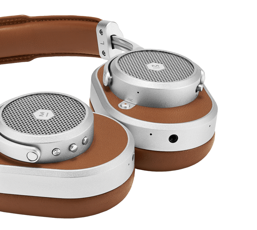 Side of image of silver master dynamic headphones