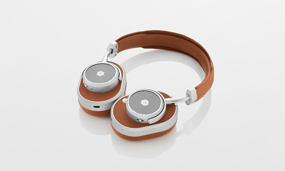 brown leather master and dynamic headphones