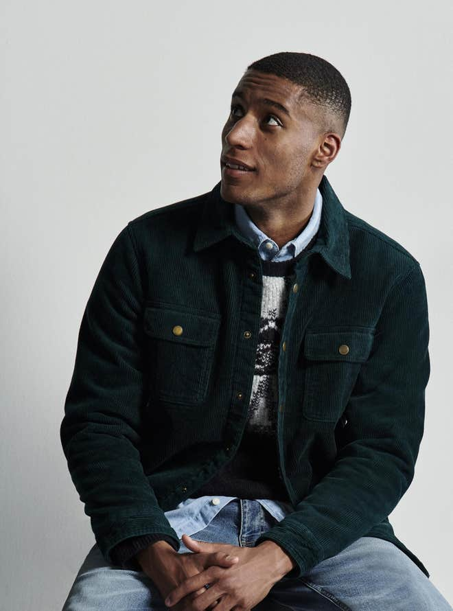 model wearing shirt, jumper and jacket from m&s