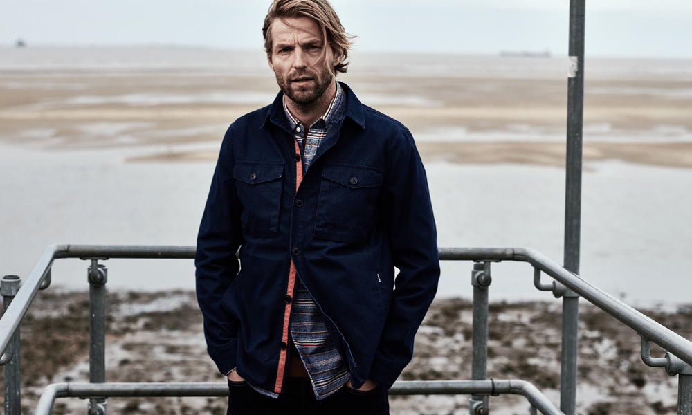 model wearing the barbour thermo overshirt