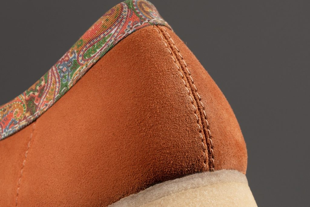 back of the clarks stussy wallabee shoe