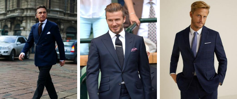 how to wear a blue suit with white shirt