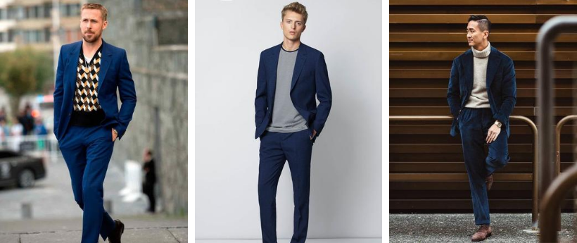 three ways to wear a blue suit with knitwear