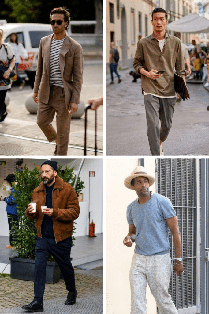 men wearing neutral colour outfits