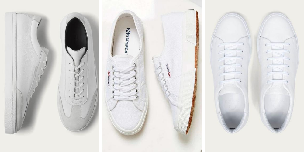 a selection of mens white trainers