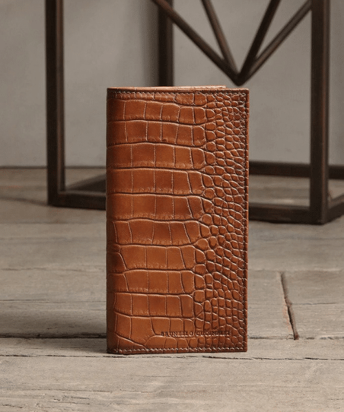crocodile brown maxi card wallet