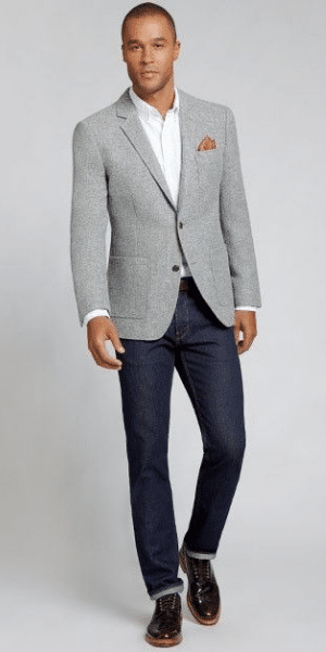 model wearing grey blazer