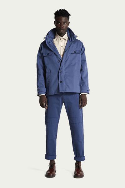 blue fields jacket on model