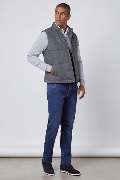 grey wool gilet for men