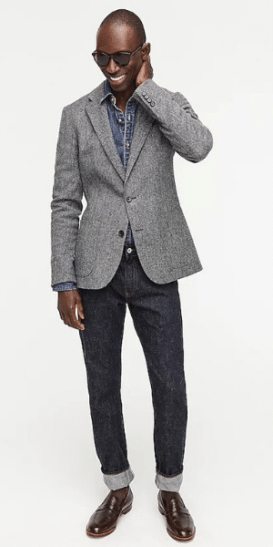 model wearing j crew grey blazer