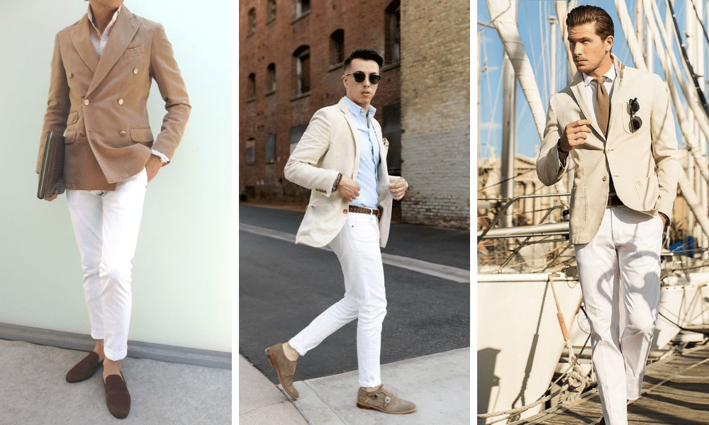 men wearing a beige blazer with white jeans