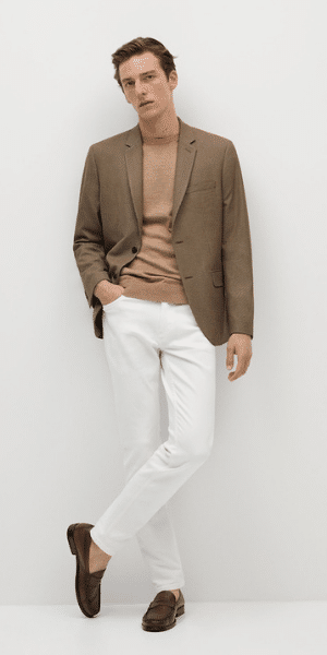 model wearing brown cotton blazer