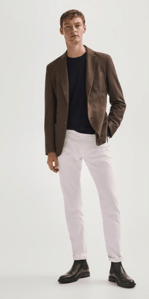 model wearing brown dyed wool blazer