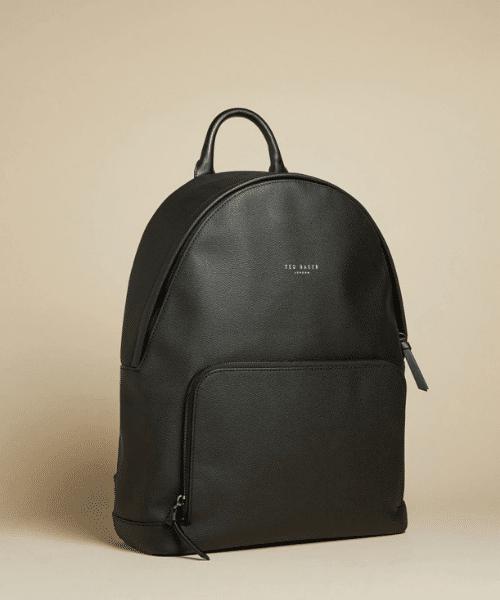 mens black leather backpack